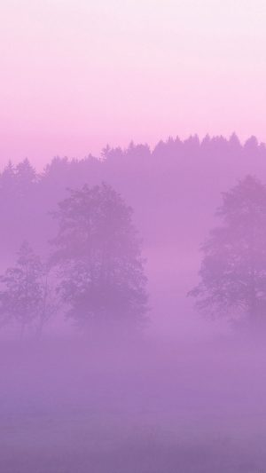 Misty Pink Forest Mountain Nature iPhone 8 wallpaper