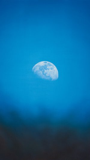 Moon Rise Day Nature Blue Dark Night iPhone 8 wallpaper
