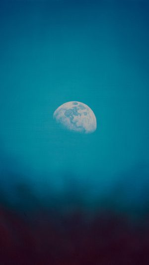 Moon Rise Day Nature Blue Dark Night Green iPhone 8 wallpaper