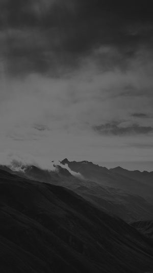 Mountain Art Fog Nature Dark Bw iPhone 8 wallpaper