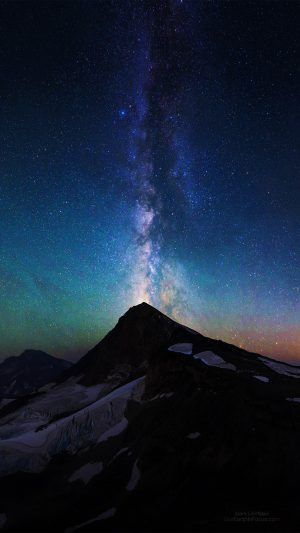 Mountain Aurora Sky Night Star Nature Milky Way iPhone 8 wallpaper