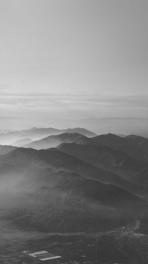 Mountain Fog Nature Dark Bw Gray Sky View iPhone 8 wallpaper