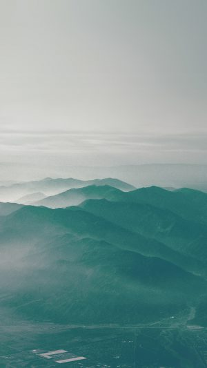 Mountain Fog Nature Green Flare Sky View iPhone 8 wallpaper