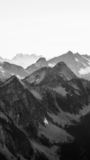 Mountain Layer View Nature Top Bw Dark iPhone 8 wallpaper