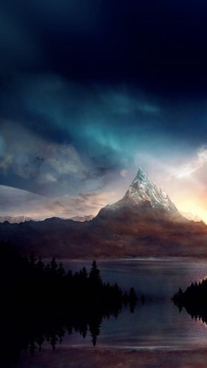 Mountain Nature Fantasy Art Illustration iPhone 8 wallpaper