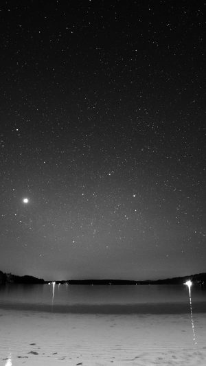 Night Beach Sea Vacation Nature Star Sky Dark Bw iPhone 8 wallpaper