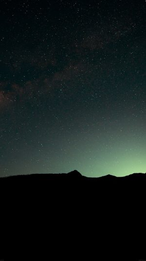 Night Sky Green Wide Mountain Star Shining Nature iPhone 8 wallpaper