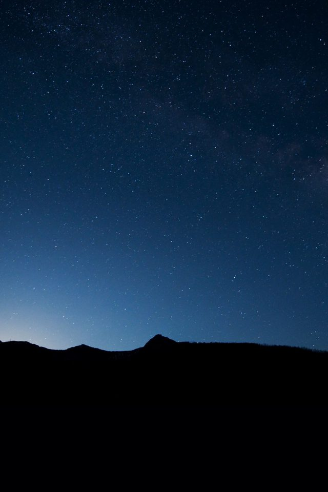 Night Sky Wide Mountain Star Shining Nature iPhone wallpaper