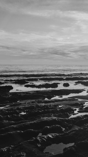 Ocean Sea Water Sky Sunset Afternoon Nature Dark Bw iPhone 8 wallpaper