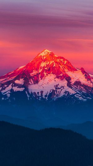 Purple Sunset Snow Mountain Nature iPhone 8 wallpaper