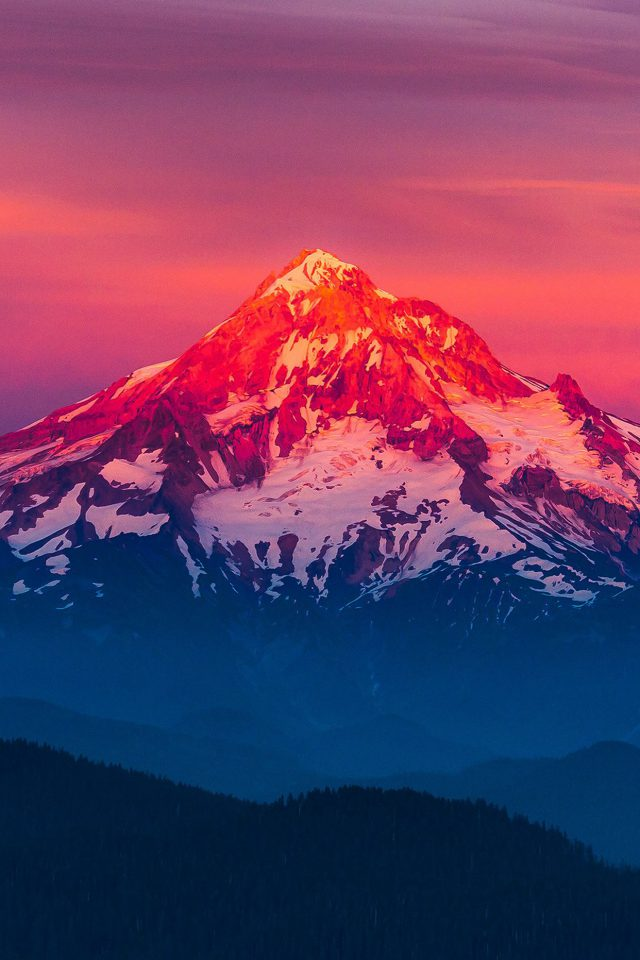 Purple Sunset Snow Mountain Nature iPhone wallpaper