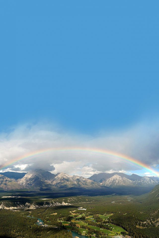 Rainbow Town Mountain Nature iPhone wallpaper