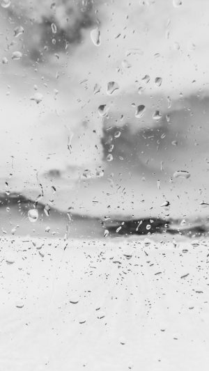 Rainy Window Nature Water Drop Road White iPhone 8 wallpaper