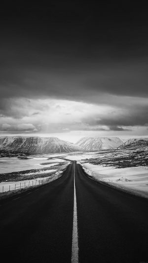 Road To Heaven Snow Mountain Bw Dark Nature Winter iPhone 8 wallpaper