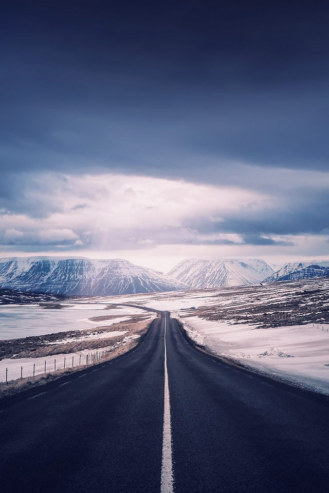 Road To Heaven Snow Mountain Nature Winter Iphone 8 Wallpaper