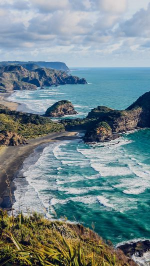 Sea Ocean View Water New Zealand Nature iPhone 8 wallpaper