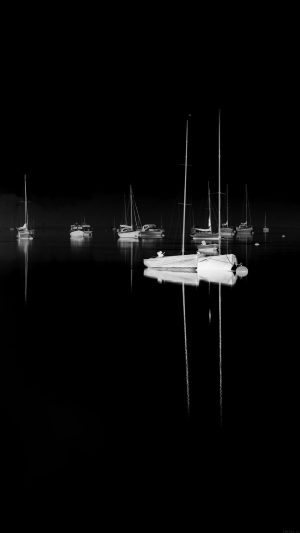 Sea Port Boats Bw Dark Nature Minimal iPhone 8 wallpaper
