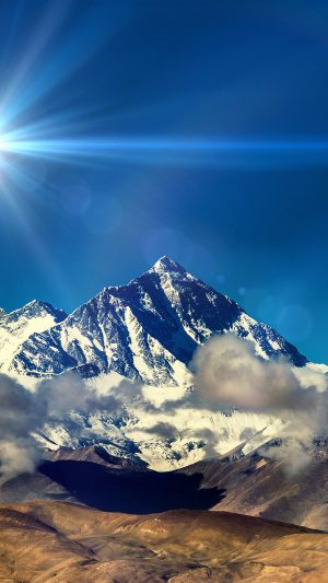 Snow Solo Mountain High Nature Blue Flare iPhone 8 wallpaper