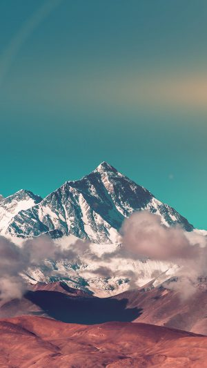 Snow Solo Mountain High Nature Green iPhone 8 wallpaper
