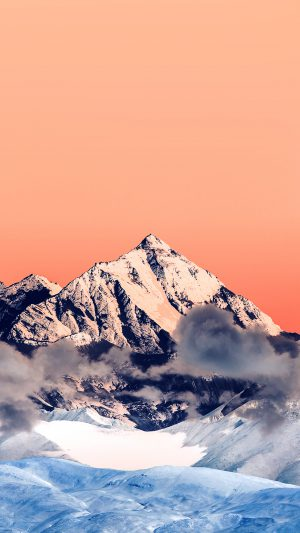 Snow Solo Orange Mountain High Nature iPhone 8 wallpaper