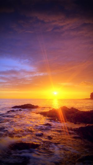 Sunshine Evening Sunset Beach Rock Nature Vignette iPhone 8 wallpaper