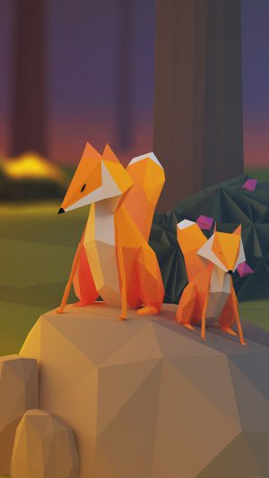 Two Fox Illust Art 3d Animal iPhone 8 wallpaper