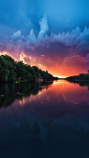 Wallpaper Lightening Reflected Lake Sea River Nature iPhone 8 wallpaper