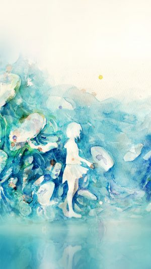 Watercolor Blue Girl Nature Art Illust iPhone 8 wallpaper