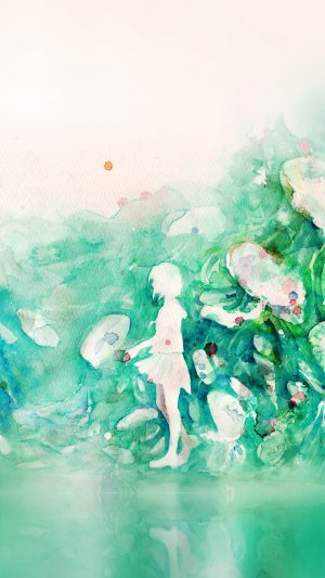 Watercolor Green Girl Nature Art Illust iPhone 8 wallpaper