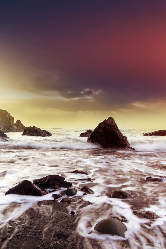 Wave Ocean Beach Red Owen Walters Flare Nature iPhone wallpaper