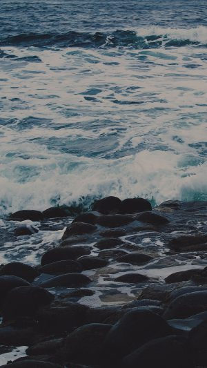 Wet Sea Beach Wave Dark Olivia Henry Nature iPhone 8 wallpaper