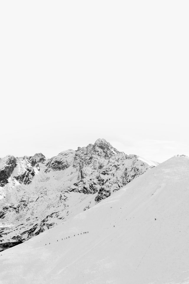 Winter Mountain Snow Bw Nature White iPhone wallpaper