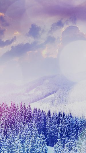 Winter Mountain Snow White Blue Flare Nature iPhone 8 wallpaper