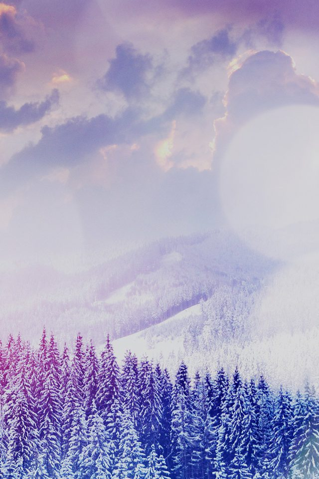 Winter Mountain Snow White Blue Flare Nature iPhone wallpaper