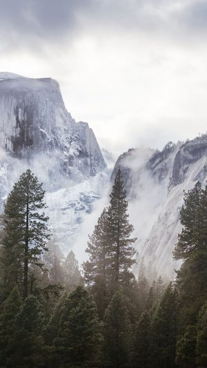 Yosemite Snow White Mountain Nature iPhone 8 wallpaper