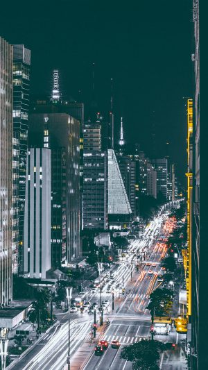 City Night View Urban Street iPhone 8 wallpaper