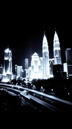 Kuala Lumpur Dark City Urban Art Illustration iPhone 8 wallpaper