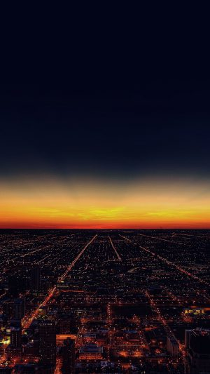 Night Sky Flying Sunset City iPhone 8 wallpaper