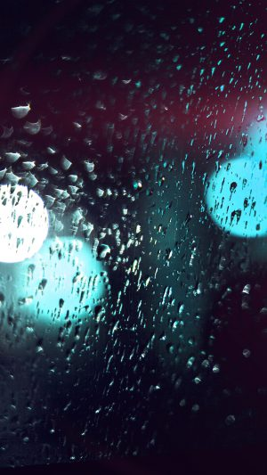 Rainy Night Drops Bokeh Green Flare Light Pattern iPhone 8 wallpaper