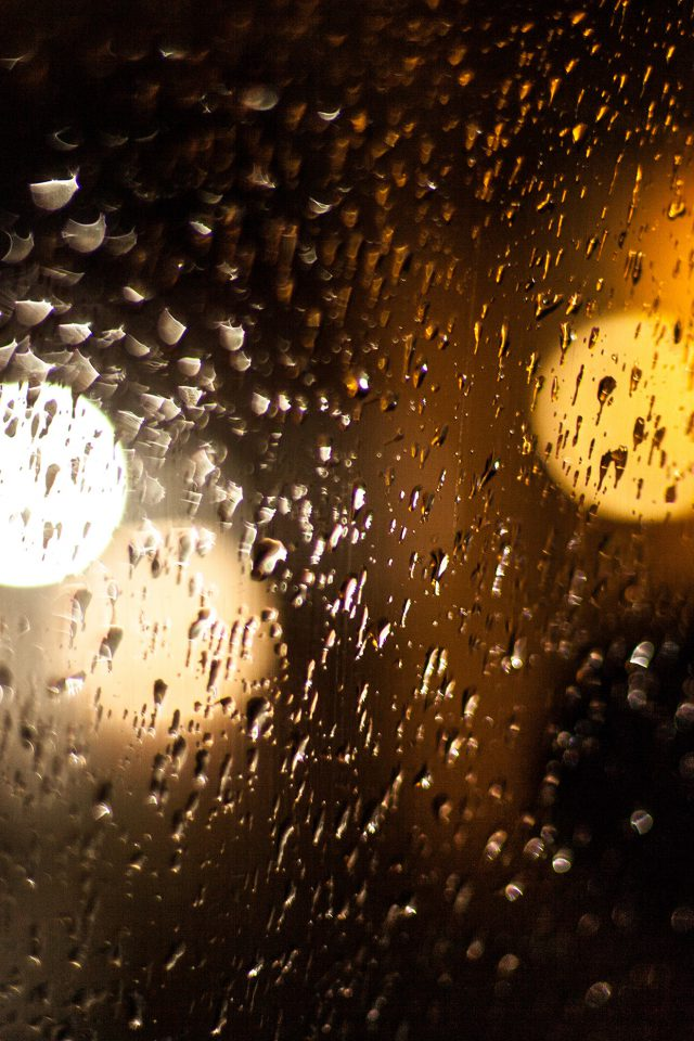 Rainy Night Drops Bokeh Orange Pattern iPhone wallpaper