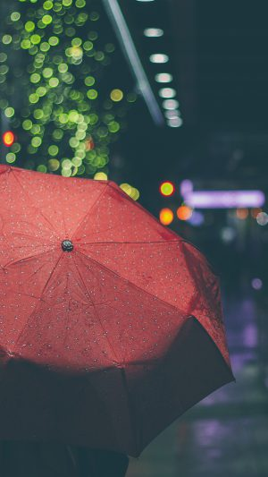 Rainyday Umbrella Bokeh City Night Dark iPhone 8 wallpaper