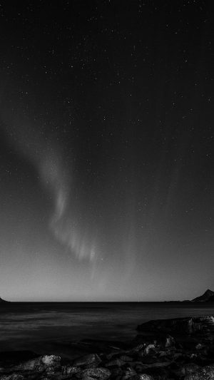 Aurora Night Sky Star Beautiful Space Sea Dark Bw iPhone 8 wallpaper