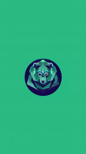 Bear Polygon Art Animal Green iPhone 8 wallpaper