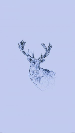 Deer Animal Illust Blue iPhone 8 wallpaper