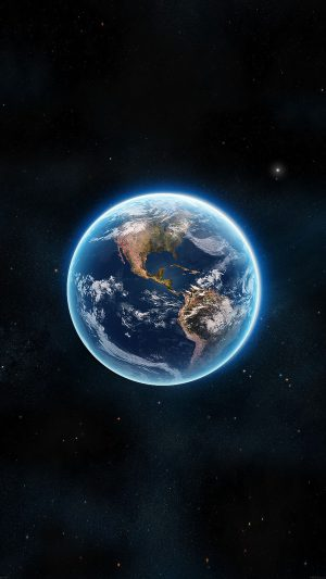 Earth View From Space Satellite Illust Art iPhone 8 wallpaper