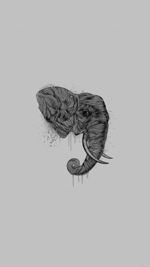 Elephant Art Dark Illust Drawing Animal iPhone 8 wallpaper
