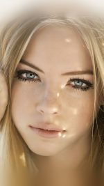 Girl Face Blonde Beauty iPhone 8 wallpaper