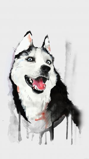 Happy Dog Husky Animal Illust Watercolor iPhone 8 wallpaper