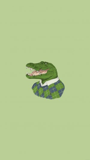 Lacoste Human Animal Minimal Art Illust Green iPhone 8 wallpaper