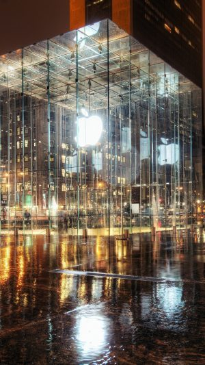 Raining Apple Store Newyork iPhone 8 wallpaper